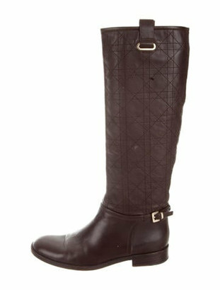 Christian Dior Quilted Leather Knee-High Boots Brown