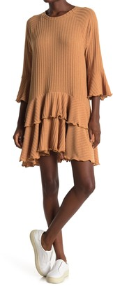 Kenedik Rib Knit Double Flounce Mini Dress