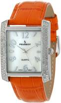 Peugeot Women's 325OR Silver-Tone Swarovski Crystal Accented Orange Leather Strap Watch