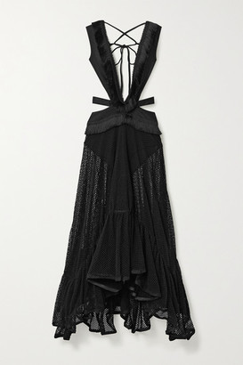 PatBO Cutout Fringed Stretch-cotton And Mesh Maxi Dress - Black