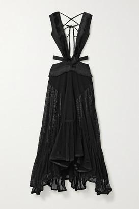 PatBO Cutout Fringed Stretch-cotton And Mesh Maxi Dress - Black
