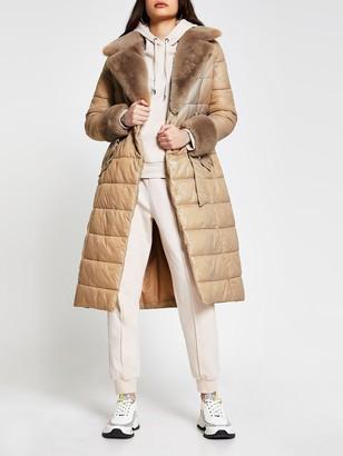 River Island Faux Fur Longline Padded Coat - Cream