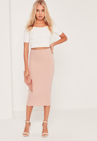 Missguided Tall Scuba Midi Skirt Nude