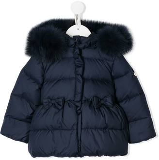 Miss Blumarine Bow Detail Puffer Coat