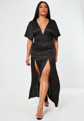 Missguided Plus Size Black Satin Short Sleeve Kimono Maxi Dress