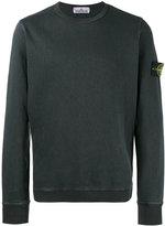 Stone Island Charcoal Cotton Fleece Back Crewneck Sweatshirt