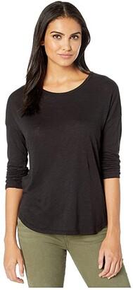 Splendid Zander Long Sleeve Cotton Modal Slub Easy Crew Tee (Black) Women's T Shirt