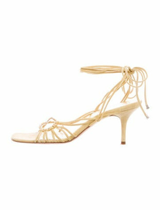 Chanel Multistrap Lace-Up Suede Sandals Yellow