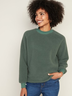Old Navy Mock-Neck Raglan-Sleeve Sherpa Sweatshirt for Women