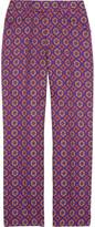 Cropped wool-blend brocade pants