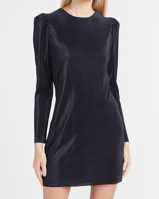 Express Pleated Puff Shoulder Shift Dress