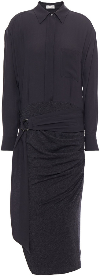 Brunello Cucinelli Belted Bead-embellished Silk Crepe De Chine And Stretch-jersey Midi Dress