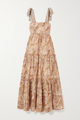 Zimmermann Brighton Tie-detailed Tiered Paisley-print Cotton Maxi Dress - Pink