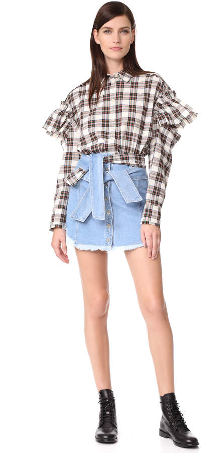 Sjyp Shirt Tie Denim Miniskirt