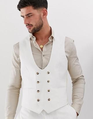 ASOS DESIGN super skinny waistcoat in white linen