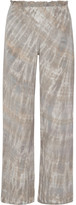 Raquel Allegra Tie-dyed Washed-silk Wide-leg Pants - Mushroom
