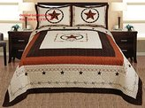 3-piece Western Lone Star Barb Wire Cabin / Lodge Quilt Bedspread Coverlet Set King / Cal King Size Beige, Brown, Black
