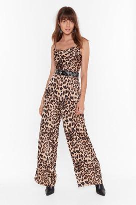 Nasty Gal Womens Wild Dancing Leopard Wide-Leg Jumpsuit - brown - 6