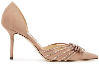 Jimmy Choo Kaitence 85 blush suede pumps