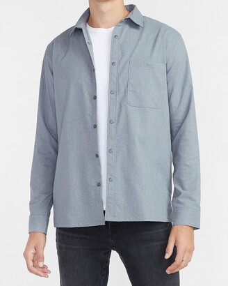 Express Slim Textured Gray Shirt Jacket