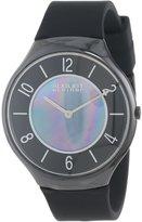 August Steiner Men's AS8054BK Slim Ceramic Quartz Strap Watch