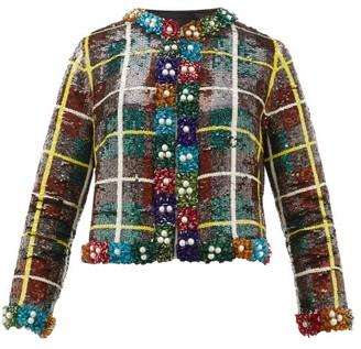 Ashish Sequinned Checked Jacket - Womens - Green Multi