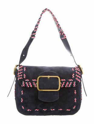 Tory Burch Lace-Up-Trimmed Suede Shoulder Bag Navy