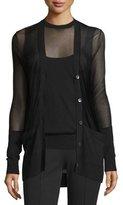 Michael Kors Button-Front Sheer Cardigan, Black