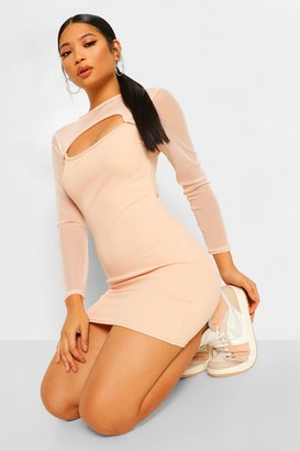 boohoo Petite Cut Out Mesh Sleeve Bodycon Dress