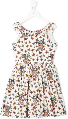 MOSCHINO BAMBINO Butterfly And Teddy Print Dress