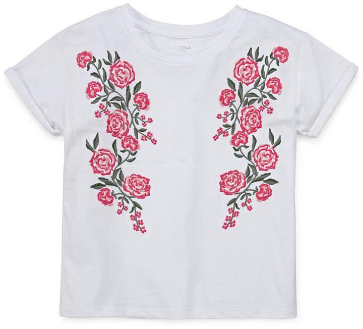 Arizona Roll Sleeve Embroidered Tee - Girls' 4-16 & Plus