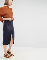 Selected Soma Pencil Skirt with Front Split