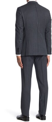 English Laundry Dark Grey Stripe Two Button Notch Lapel Wool Slim Fit 3-Piece Suit
