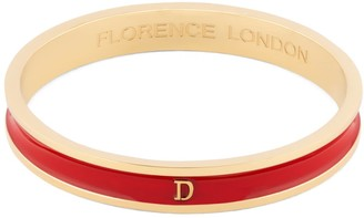 Florence London Initial D Bangle 18Ct Gold Plated With Red Enamel
