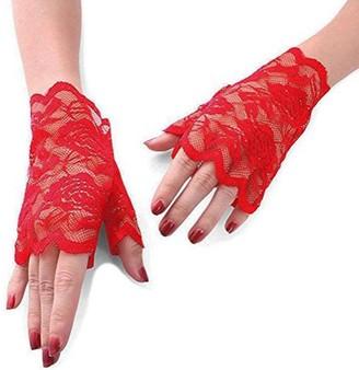 MINGZE Lace Gloves Women's Floral Pattern Lace Fingerless Gloves