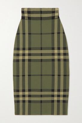 Burberry - Checked Cotton-blend Skirt - Green