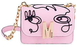 Moschino Women's Face Embroidered Leather Shoulder Bag
