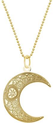 Cartergore Small Gold Mandala Moon Pendant Necklace