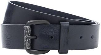 Diesel 4cm Metal Logo Leather Belt
