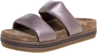 Brunello Cucinelli Metallic Leather And Suede Flat Slides Size 38.5