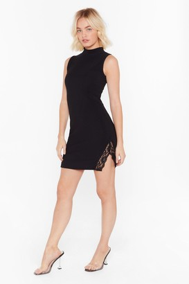 Nasty Gal Womens Lace You to the Bar Ribbed Mini Dress - black - 8