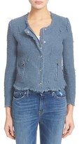 IRO Women's Snap Front Crop Cotton Tweed Jacket