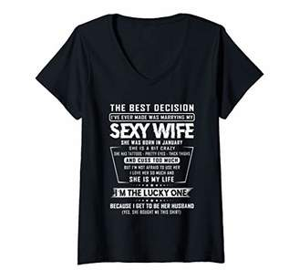Womens The Best Decision I've Ever Made Was Marrying January Wife V-Neck T-Shirt
