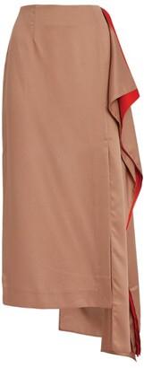 Mother of Pearl Judith Asymmetric Drape Midi Skirt