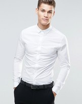 Asos Skinny Shirt In White With Button Down Collar And Long Sleeves