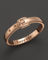 "Monica Rich Kosann 18K Rose Gold ""Forever"" Posey Ring with Buckle"