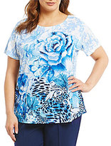 Allison Daley Plus Wide Crew Neck Embellished Rose Animal Print Knit Top