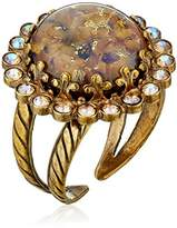 """Sorrelli Chantilly Lace"""" Circular Cocktail Ring with Crystal Edge Accents"""