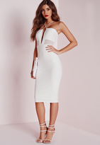 Missguided Textured Strappy Mesh Insert Midi Dress White