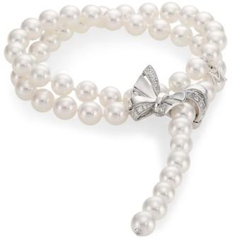 Mikimoto Jeux de Rubans 18K White Gold, 7.5MM White Akoya Pearl & Diamond Convertible Wrap Lariat Necklace/Bracelet